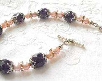 amethyst bracelet victorian bracelet purple bracelet amethyst and pearl bracelet gemstone jewelry purple and pink bracelet