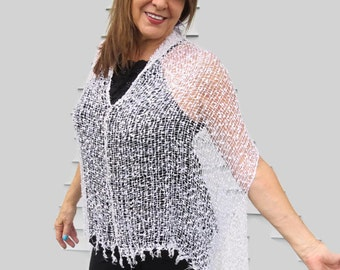 Capelet White Cruise Wear Lightweight Coverup womens knit capelet