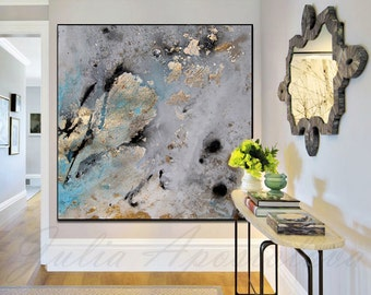 45inch, Gold Leaf Print Of Original Watercolor Painting, Modern Prints,  Pastel, Teal