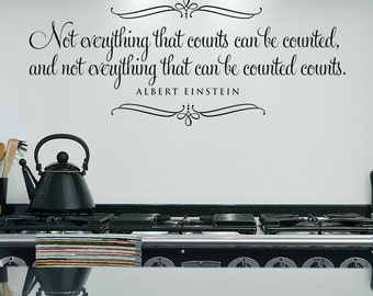 Not everything that counts...vinyl wall decal wall words lettering art design