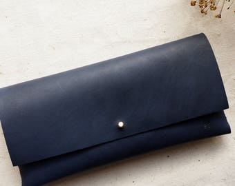 Midnight Leather interlocking clutch bag.  Leather bag, Leather purse.  Handmade in the UK