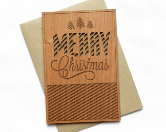 Merry Christmas Wood Card - Unique Holiday Cards - Christmas Greeting Card