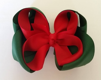 red forest green puffy bow girls hair bows ribbon accessories hair clip