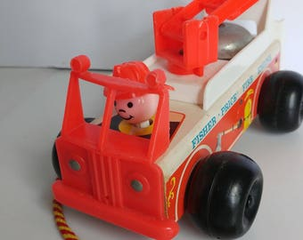 Fisher Price Fire Engine Truck Toy Little People Ringing Bell Vintage #720 - 8 inches