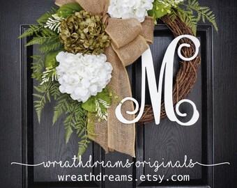 """18""""-32"""" Sage Green & White Hydrangea Wreath. Year Round Wreath. Spring Wreath. Summer Wreath. Door Wreath. Grapevine Wreath."""