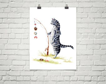 Cat with a Sweet Tooth - Watercolor Art Print - Whimsical Animal Art Decor, fishing art, fish, gifts for him, fathers day, sweets, donuts