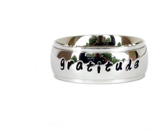 Gratitude- Ring Stainless Steel Jewelry Inspirational Gift Message Ring Hand Stamped