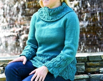 Instant Download pdf Hand Knitting Pattern  - Leafy Cowl Sweater