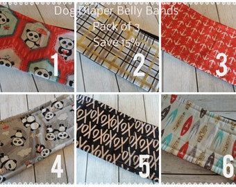 3 Pack SALE, Cotton with ZORB Dog Diapers, Save 15%, Personalized , FAST Shipping, Personalized