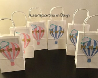 Hot air balloon favor bags,set of 10,up and away favor bags,up and away party,hot air balloon theme,hot air balloon baby shower,up and away