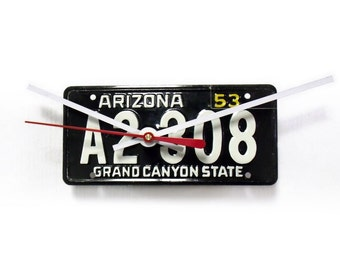 License Plate Wall Clock from Recycled Arizona Bicycle License Tag - AZ 1953 - State Love - Grand Canyon