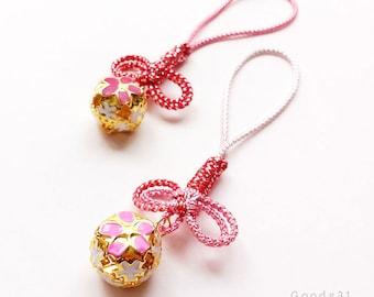Omamori Knot Sakura Bell Bag Charm, Japanese Lucky Charm Knot, Cherry Blossom Bell, Omamori Accessories