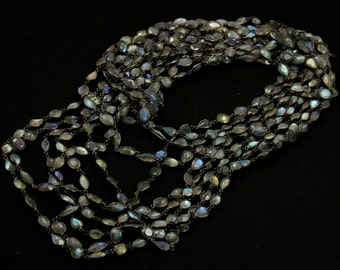 Labradorite Bezel Chain, Sterling Silver with Antique finish,10-14mm, Sold By the Foot (GMC-BZ-LAB14)