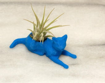 Cat Air Planter, Mini Planter, Geometrical Cat, Desk Accessory, Office Gift, Air Plant, 3D Printed Planter