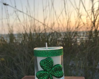"""Lucky Shamrock, Glass Candle Holder 2.5"""" with Soy Wax Votive/Tea lights"""