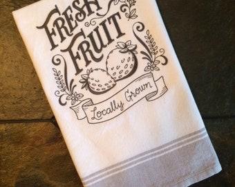Locally Grown Fresh Fruit Embroidered Tea Towel, Flour Sack Towel