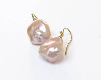 Large Pink Baroque Fresh Water Pearl Earrings 18k