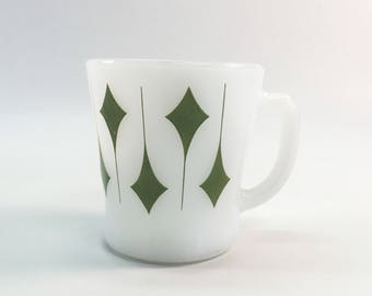 Vintage Milk Glass Mug Green Diamonds Anchor Hocking Fire King