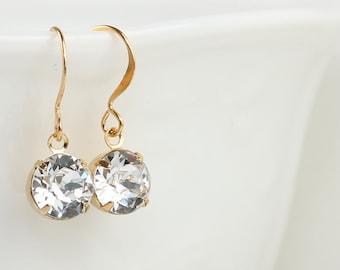 Swarovski Crystal Gold Earrings, Crystal Earrings, Gold Swarovski Earrings, Gold Earrings, Bridesmaid Earrings, Bridal Earrings [#408]
