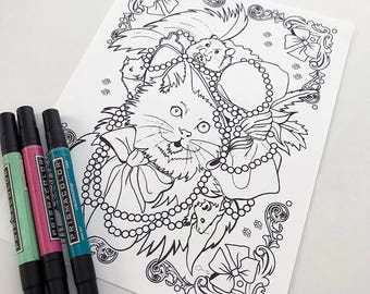 Cat in a Hat Download Coloring Page Pocket Full of Posiez