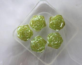 Green Flower cabochon resin scrapbooking