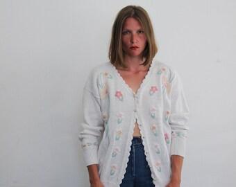 vintage 90s summer knit cardigan