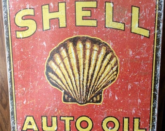 Golden Shell Auto Oil Shell Company Metal Sign