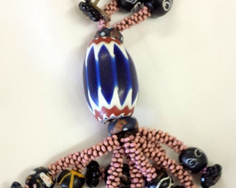 Arnold's Frendship Indiana - Chevron Trade Bead  Cheyenne Pink Seed Beads Necklace. 1880's to 1920 trade beads