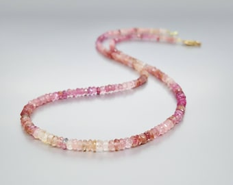 Pink Tourmaline faceted necklace with gold plated clasp - Rubellite - gift idea Christmas - stunning shades of pink - natural gemstone