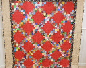 From Maine.   Bold!  Double Irish Chain Quilt.  Never Used!  Homemade.  Nice Hand Quilting