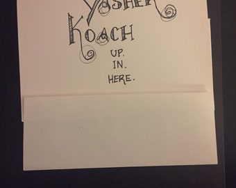 Yasher koach hand-lettering greeting card