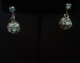Vintage Screw Back Ball Dangel Earrings Set with Pale Blue Moonglow Glass Cabochons