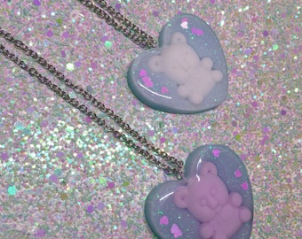 Teddy Bear Pendant Necklace - Fairy Kei Simple Chain