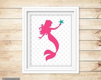 Mermaid Nursery Wall Art Jade Pink Gray Polka Dots Bedroom Girl's Room Nursery Decor Printable 8x10 Digital JPG Instant Download (7)