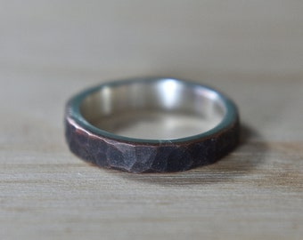 Antique Hammered Copper Ring. Antique Hammered Copper Ring for Woman. Antique Copper Wedding Band Ring. Antique Copper Ring