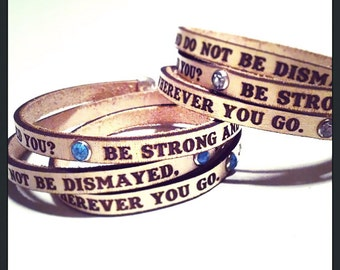Be Strong and Courageous... Joshua 1:9 Cream Daily Reminder Leather triple wrap bracelet