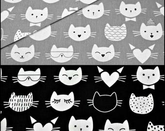 Cats cotton fabric by the Yard black white