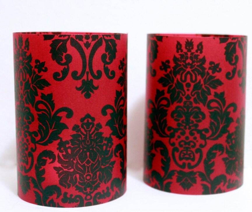 Damask Wedding Black And Red Luminary