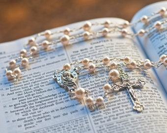 Cream Rose Swarovski crystal pearl rosary with silver plated Mother Mary and Baby Jesus center