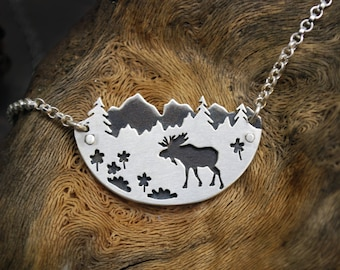 Mountain Range Moose Necklace - Sterling Silver Landscape Pendant - Trees Flowers Forest - Nature Enthusiast Gift