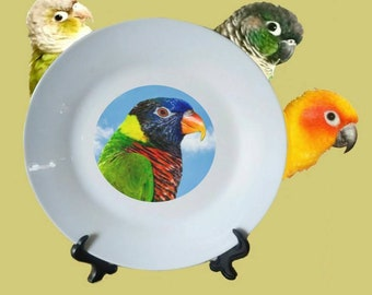 "Green-naped Lorikeet Parrot Blue Sky Clouds White Decorative Ceramic 8"" Plate and Display Stand"