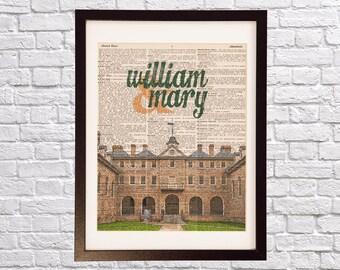 William & Mary Dictionary Art Print - Wren Building Art - College of William and Mary Print - Print on Vintage Dictionary Paper - Virginia