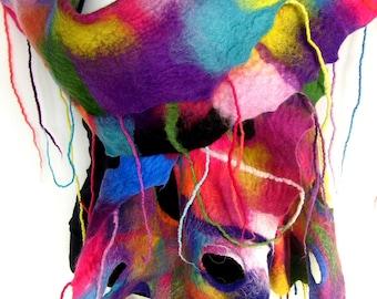 Felted Scarf, Ruffled Wavy, Holes Fringes Scarf, Rainbow Multicolor, Merino Wool Felt Scarf CUSTOM ORDER
