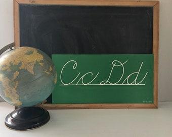 Vintage Classroom Chalkboard Palmer Cursive Penmanship Banner Border Green and White Alphabet Weber Costello