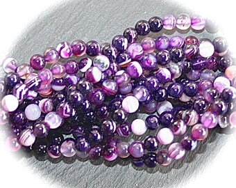 x 10 purple and plum veined agate beads 4mm round