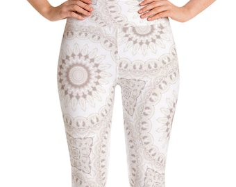 Leggings High Waist Boho Yoga Pants, Women's Printed Leggings, White Mandala Leggings