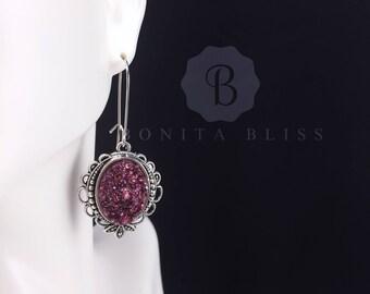Burgundy Ornate Oval Druzy Earrings, Faux Druzy Earrings, Bridesmaid Gift Druzy, Burgundy Druzy Earrings, Oval Drusy