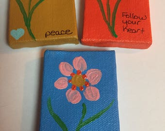 Inspirational tiny canvas paintings