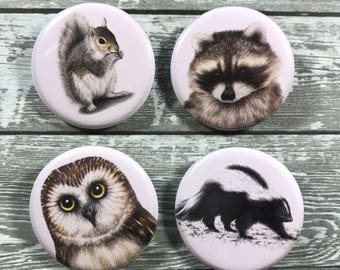 Forest friends button 4 pack
