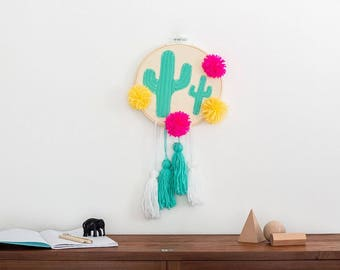 Tapestry, Succulent, embroidery, cactus wall art, Plant wall art, wall decor, botanical, living room decor, cactus, cactus decor, Pom poms